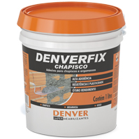 Denverfix Chapisco Adesivo para chapisco e argamassas Adesivo líquido, à base de resinas sintéticas dispersas em meio aquoso, não reemulsionável em água e compatível com cimento, cal e gesso. Consumo: 0,15 a 0,75 L / m² / cm dependendo da aplicação Embalagem: Pote 1 L / Galão 3,6 L / Balde 18 L / Tambor 200 L