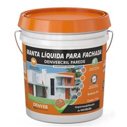 Denvercril Parede Manta liquida impermeabilizante para fachadas Tinta impermeabilizante, à base de polímeros acrílicos, flexível, para proteção de paredes externas e fachadas sobre argamassas de revestimento ou concreto contra batidas de chuva. Exclusivo na cor branca. Consumo: 0,15 a 0,25 kg / m² / demão (Variável em função do tipo de superfície) Embalagem: Galão 3,6 kg / Balde 18 kg / Tambor 200 kg